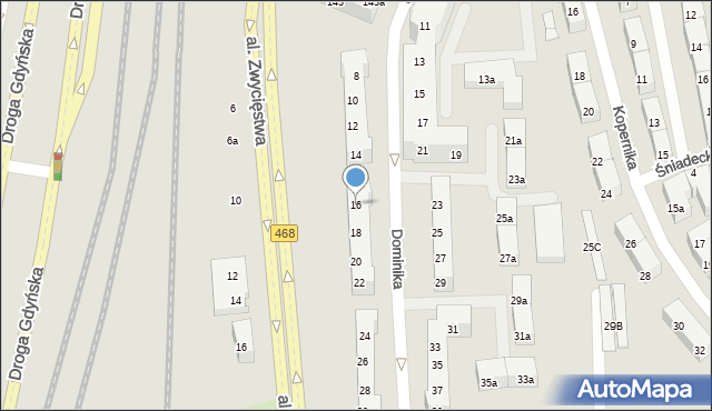 Gdynia, Dominika, bp., 16, mapa Gdyni