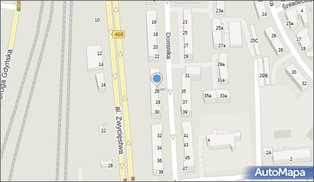 Gdynia, Dominika, bp., 26, mapa Gdyni