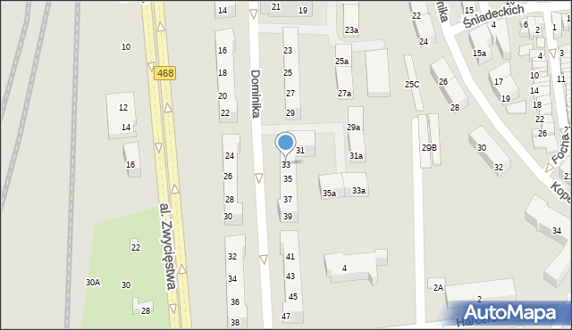 Gdynia, Dominika, bp., 33, mapa Gdyni