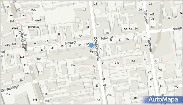Łódź, Dowborczyków, 23, mapa Łodzi