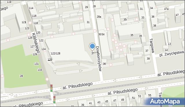 Łódź, Dowborczyków, 37, mapa Łodzi