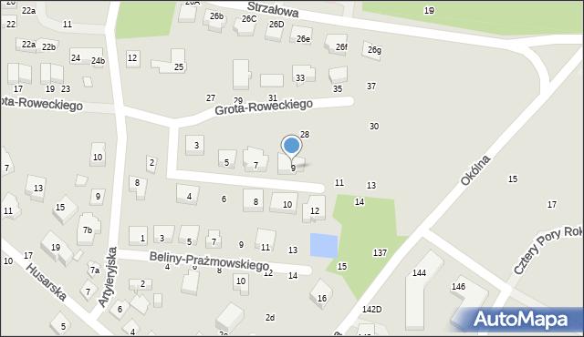 Toruń, Dobrzańskiego-Hubala Henryka, mjr., 9, mapa Torunia