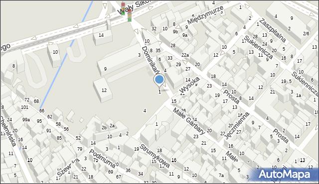 Toruń, Dominikańska, 1, mapa Torunia