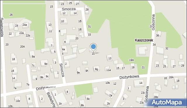 Toruń, Dożynkowa, 11, mapa Torunia