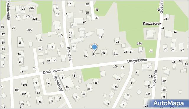 Toruń, Dożynkowa, 9f, mapa Torunia