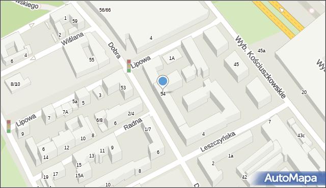 Warszawa, Dobra, 54, mapa Warszawy