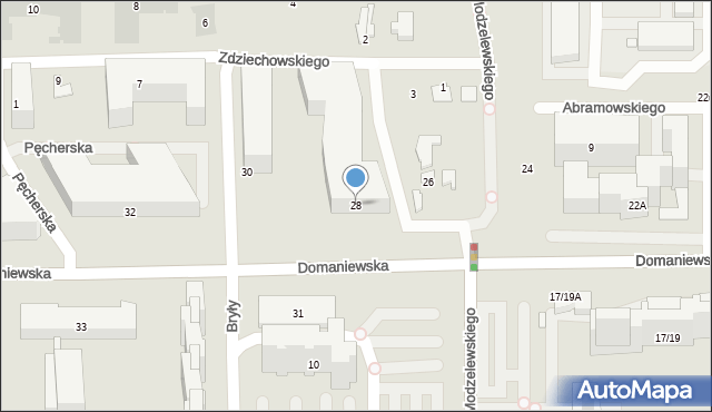 Warszawa, Domaniewska, 28, mapa Warszawy