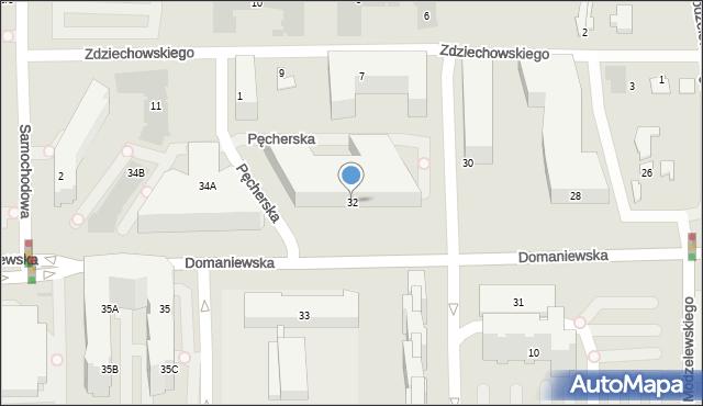 Warszawa, Domaniewska, 32, mapa Warszawy