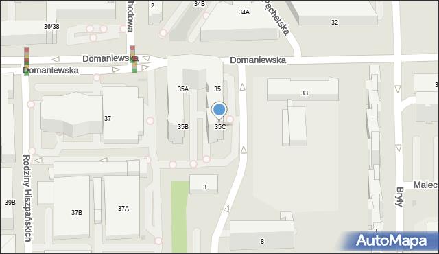 Warszawa, Domaniewska, 35C, mapa Warszawy