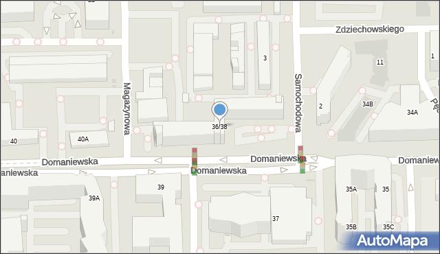 Warszawa, Domaniewska, 36/38, mapa Warszawy
