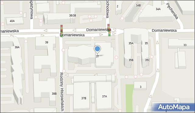 Warszawa, Domaniewska, 37, mapa Warszawy