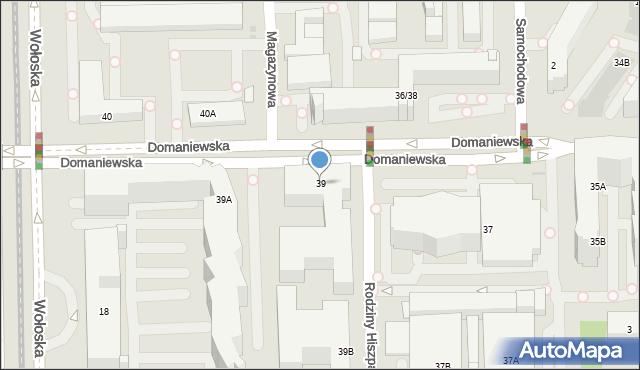 Warszawa, Domaniewska, 39, mapa Warszawy