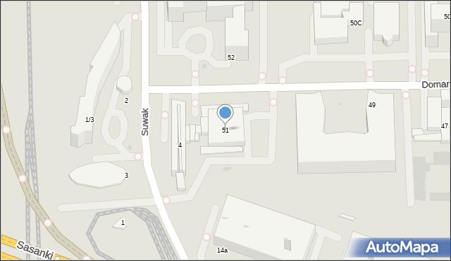 Warszawa, Domaniewska, 51, mapa Warszawy