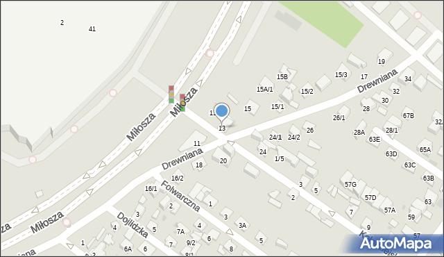 Białystok, Drewniana, 13, mapa Białegostoku