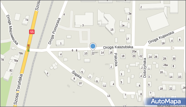 Grudziądz, Droga Kaszubska, 12, mapa Grudziądza