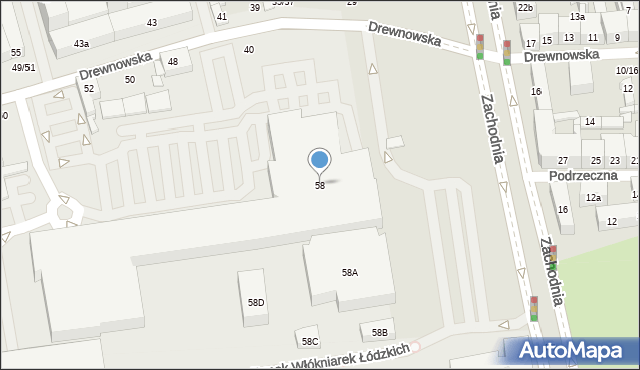 Łódź, Drewnowska, 58, mapa Łodzi