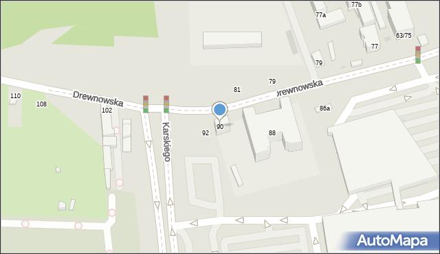 Łódź, Drewnowska, 90, mapa Łodzi