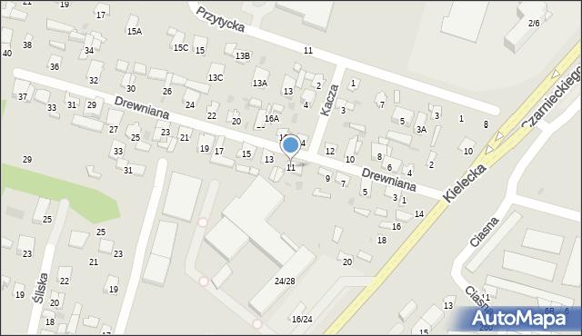 Radom, Drewniana, 11, mapa Radomia
