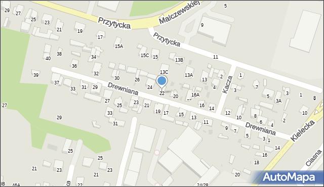 Radom, Drewniana, 22, mapa Radomia