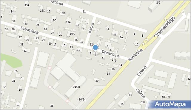 Radom, Drewniana, 7, mapa Radomia