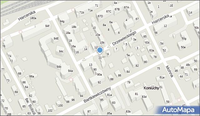Toruń, Drzewieckiego Jana, kpt., 11, mapa Torunia