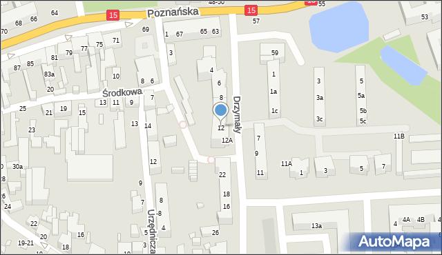 Toruń, Drzymały Michała, 12, mapa Torunia