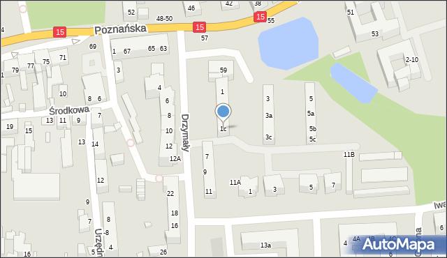 Toruń, Drzymały Michała, 1c, mapa Torunia