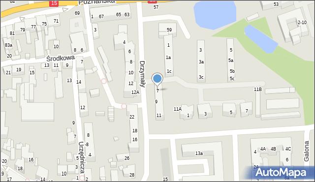 Toruń, Drzymały Michała, 7, mapa Torunia