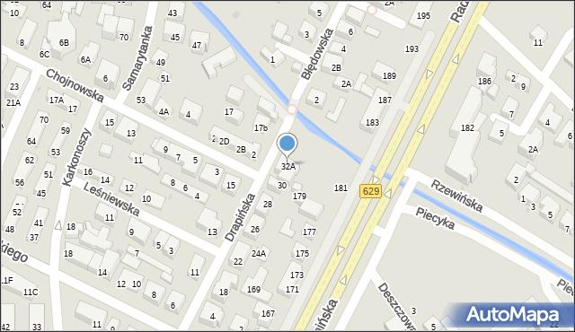 Warszawa, Drapińska, 32A, mapa Warszawy