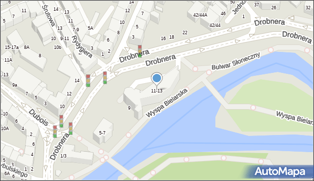 Wrocław, Drobnera Bolesława, 11-13, mapa Wrocławia