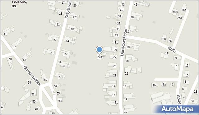 Bytom, Dunikowskiego Ksawerego, 27A, mapa Bytomia
