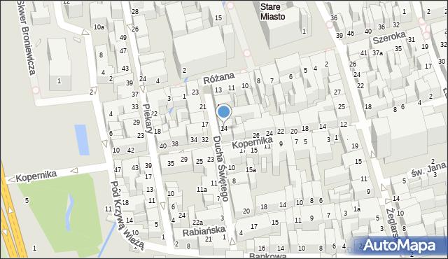 Toruń, Ducha Świętego, 14, mapa Torunia