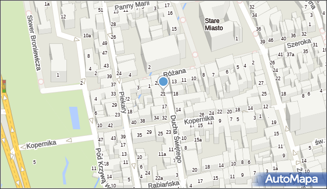 Toruń, Ducha Świętego, 21, mapa Torunia