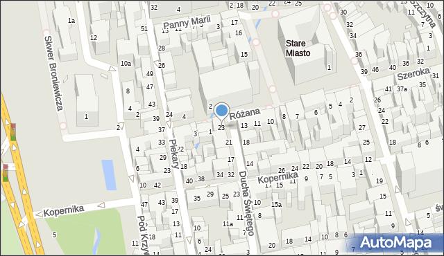 Toruń, Ducha Świętego, 23, mapa Torunia