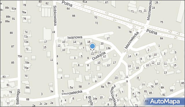 Toruń, Dudojcia Ignacego, 11, mapa Torunia