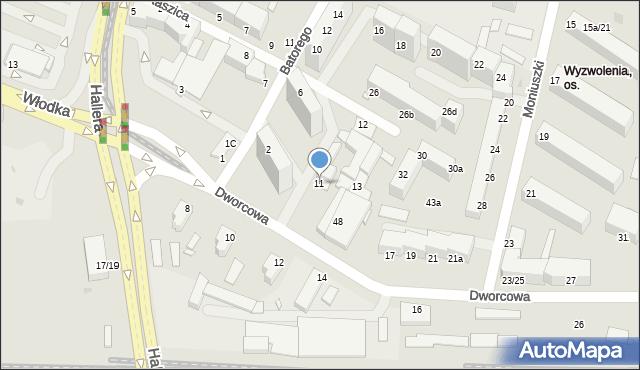 Grudziądz, Dworcowa, 11, mapa Grudziądza