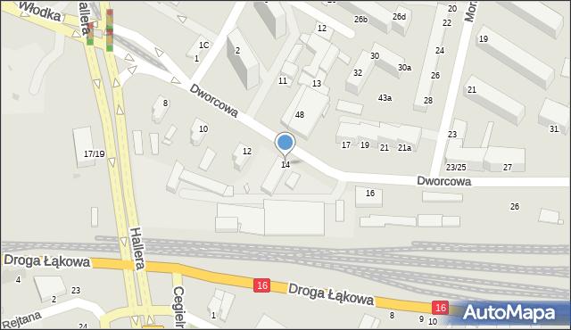 Grudziądz, Dworcowa, 14, mapa Grudziądza