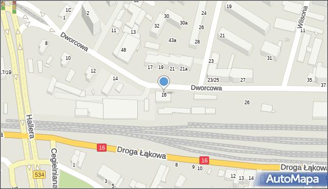 Grudziądz, Dworcowa, 16, mapa Grudziądza