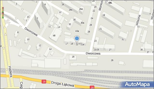 Grudziądz, Dworcowa, 21, mapa Grudziądza