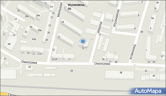 Grudziądz, Dworcowa, 31, mapa Grudziądza