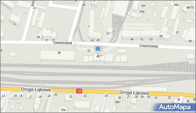 Grudziądz, Dworcowa, 40, mapa Grudziądza