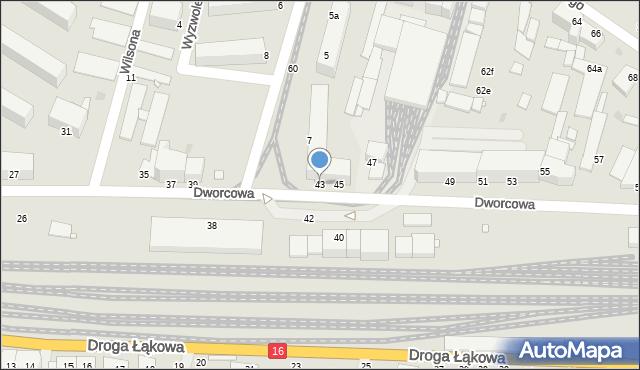 Grudziądz, Dworcowa, 43, mapa Grudziądza