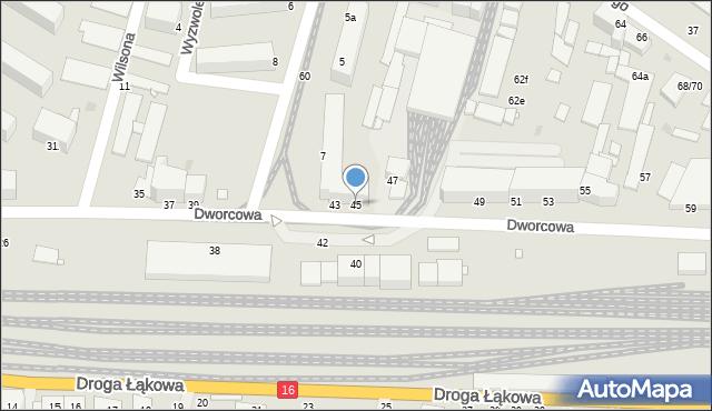 Grudziądz, Dworcowa, 45, mapa Grudziądza