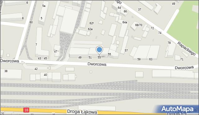 Grudziądz, Dworcowa, 53, mapa Grudziądza