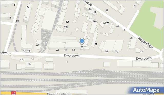 Grudziądz, Dworcowa, 55, mapa Grudziądza