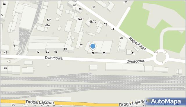 Grudziądz, Dworcowa, 59, mapa Grudziądza