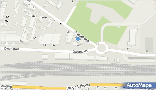 Grudziądz, Dworcowa, 71, mapa Grudziądza