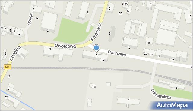 Kętrzyn, Dworcowa, 8, mapa Kętrzyn
