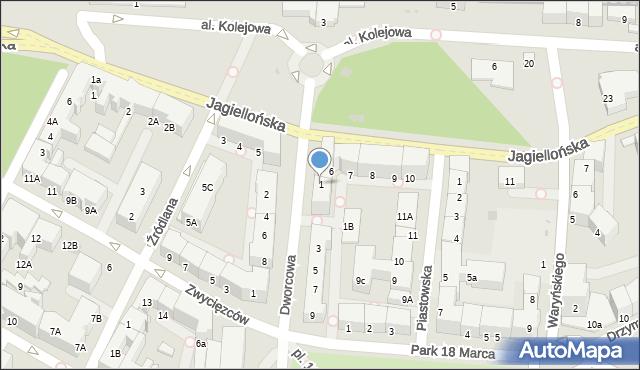 Kołobrzeg, Dworcowa, 1, mapa Kołobrzegu