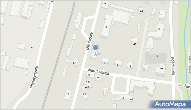 Mogilno, Dworcowa, 11, mapa Mogilno
